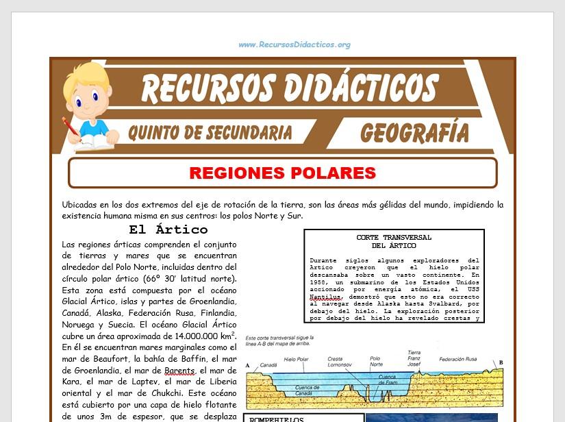 Ficha de Regiones Polares para Quinto de Secundaria