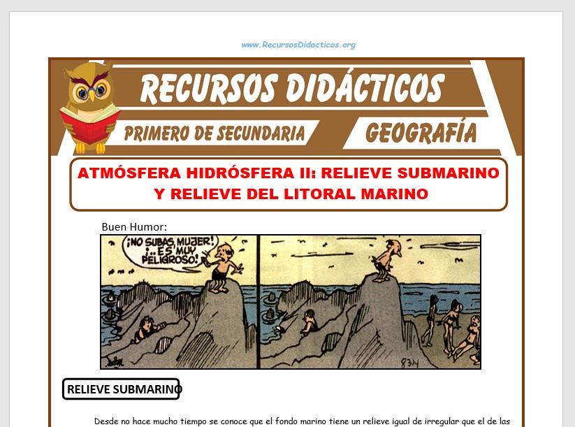 Ficha de Relieve Submarino y Relieve del Litoral Marino para Primero de Secundaria