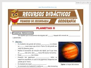 Ficha de Sistema Planetario Solar para Primero de Secundaria