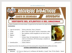 Ficha de Vertiente del Atlántico o del Amazonas para Cuarto de Secundaria