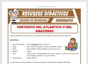 Vertiente del Atlántico o del Amazonas para Segundo de Secundaria