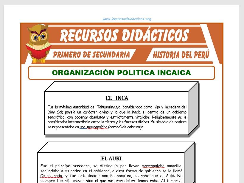 Ficha de Organización Política Incaica para Primero de Secundaria