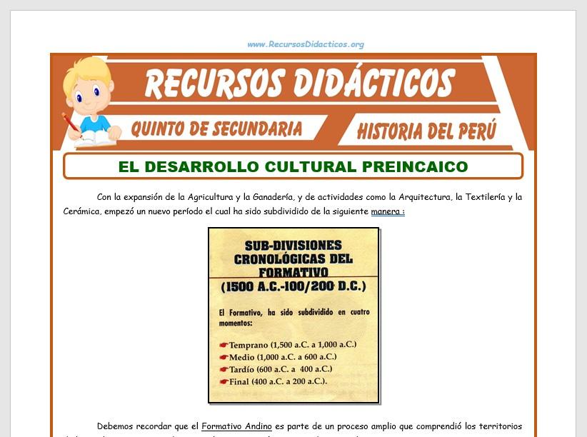 Ficha de Desarrollo Cultural Preincaico para Quinto de Secundaria