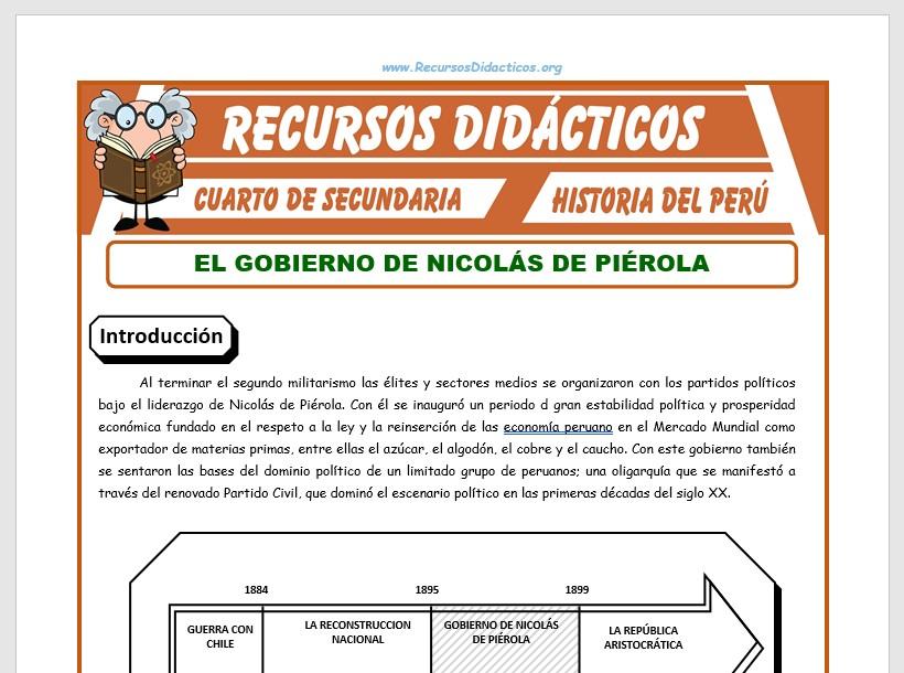 Ficha de Gobierno de Nicolás de Piérola para Cuarto de Secundaria