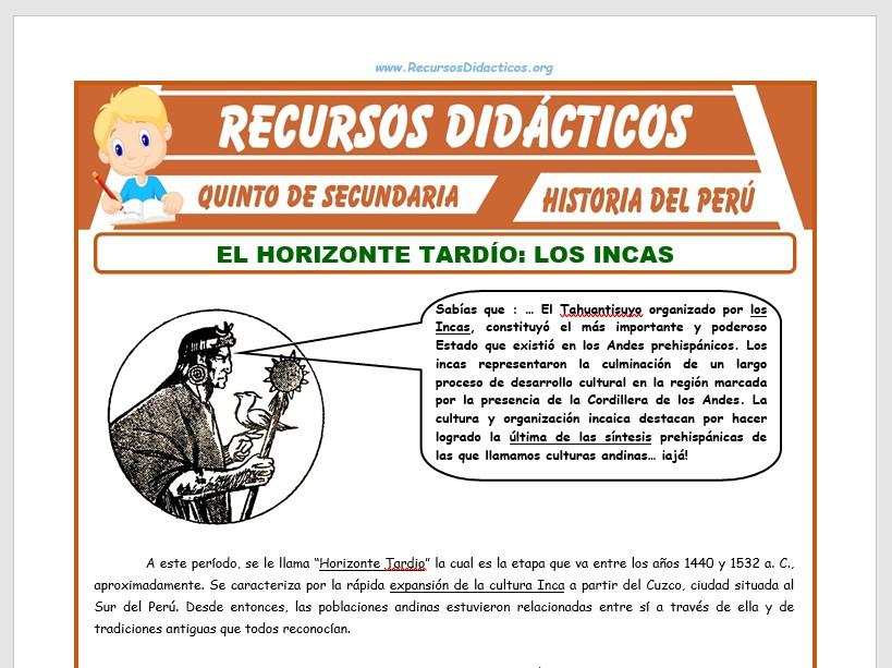 Ficha de Horizonte Tardío para Quinto de Secundaria