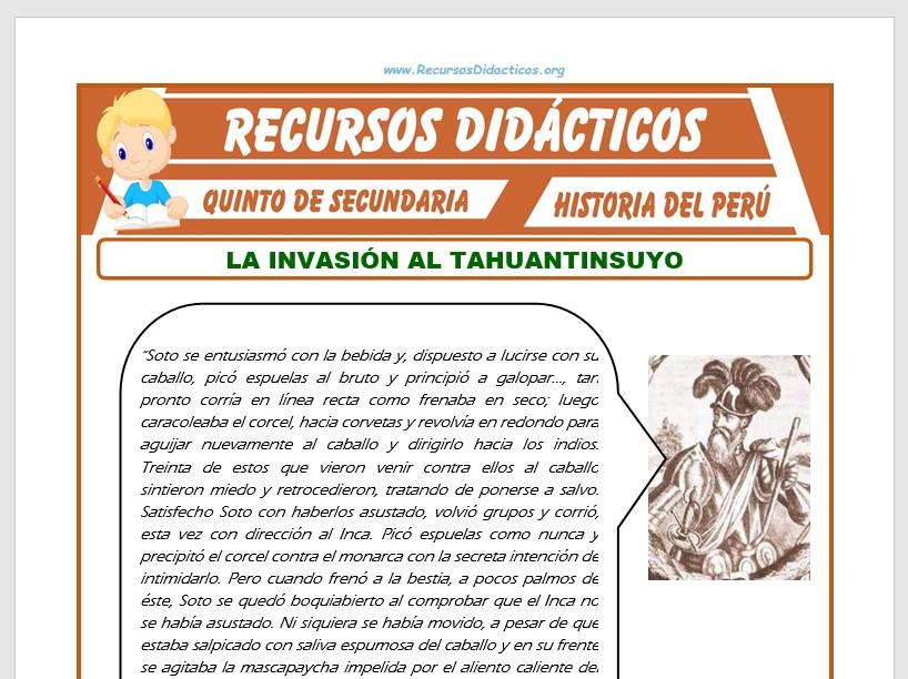 Ficha de La Conquista del Tahuantinsuyo para Quinto de Secundaria