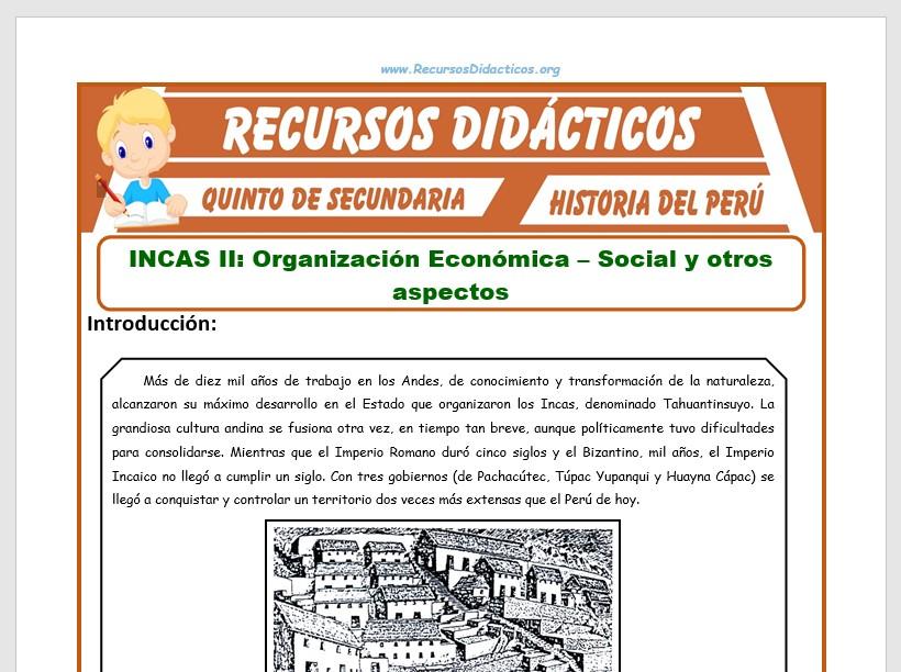 Ficha de Los Incas para Quinto de Secundaria