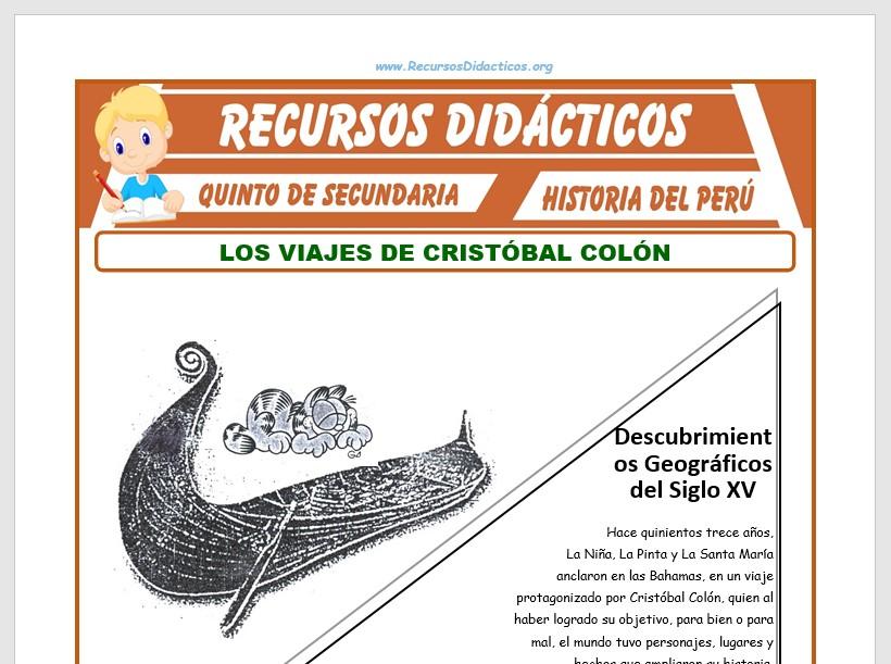 Ficha de Los Viajes de Cristóbal Colón para Quinto de Secundaria