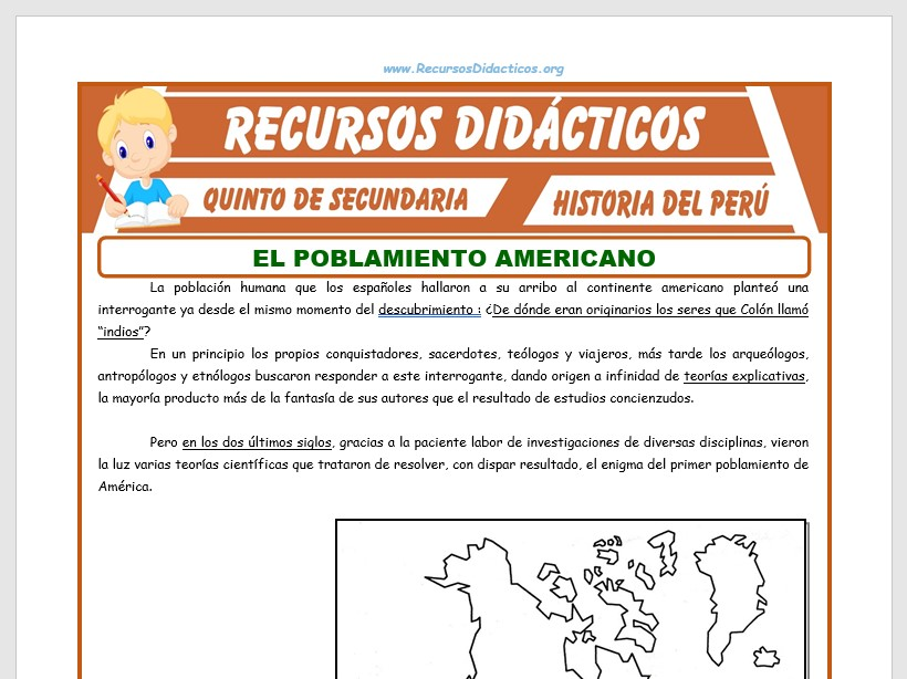 Ficha de Poblamiento de América para Quinto de Secundaria