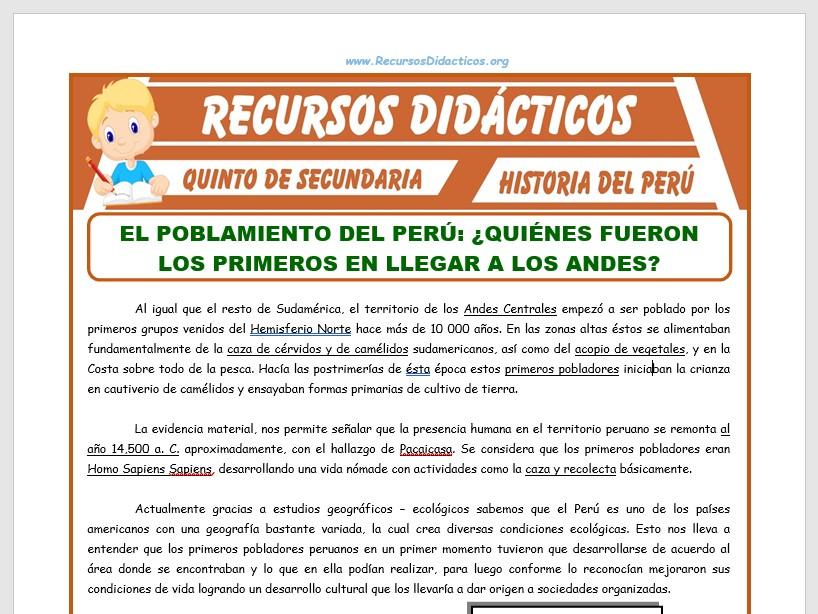 Ficha de Poblamiento del Perú para Quinto de Secundaria