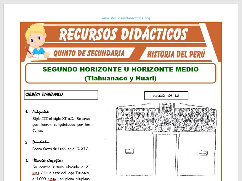 Ficha de Segundo Horizonte y Horizonte Medio para Quinto de Secundaria